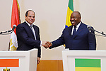 Egyptian President Abdel Fattah al-Sisi shakes hands with Gabon's President Ali Bongo following a joint press conference in Libreville on August 16, 2017. Photo by Egyptian President Office