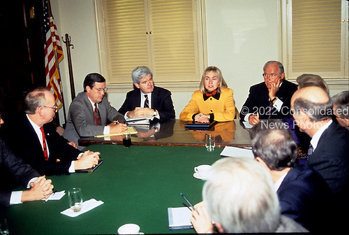 First lady Hillary Rodham Clinton, head of the Task Force on National Health Care Reform, center, meets with United States House Minority Leader Robert H. Michel (Republican of Illinois), right, and U.S. House Minority Whip Newt Gingrich (Republican of Georgia), left, and other Republicans in the U.S. Capitol in Washington, D.C. on February 16, 1993.  The first lady was on Capitol Hill to discuss health care issues.<br /> Credit: Brad Markel / Pool via CNP