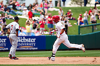 Jose Garcia (3) of the Springfield Cardinals rounds the bases after hitting a home run during a game against the Arkansas Travelers on May 10, 2011 at Hammons Field in Springfield, Missouri.  Photo By David Welker/Four Seam Images.