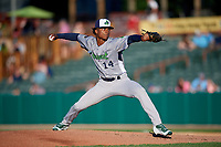 Vermont Lake Monsters starting pitcher Jose Mora (14) delivers a pitch during a game against the Tri-City ValleyCats on June 16, 2018 at Joseph L. Bruno Stadium in Troy, New York.  Vermont defeated Tri-City 6-2.  (Mike Janes/Four Seam Images)