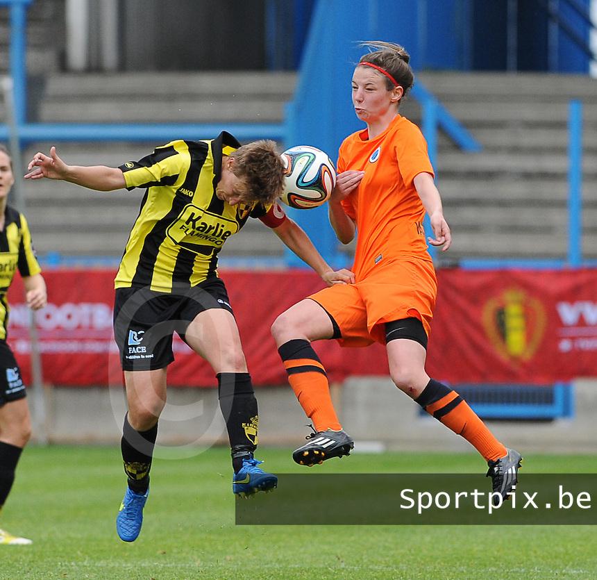 Bekerfinale vrouwen 2015 : Lierse-Club Brugge Vrouwen <br /> <br /> kopbalduel tussen Niki Decock (L) en Nicky Van den Abbeele (R)<br /> <br /> foto VDB / BART VANDENBROUCKE