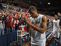 Virginia guard Justin Anderson (23) walks off the court during the game Tuesday in Charlottesville, VA. Virginia defeated Virginia Tech73-55.