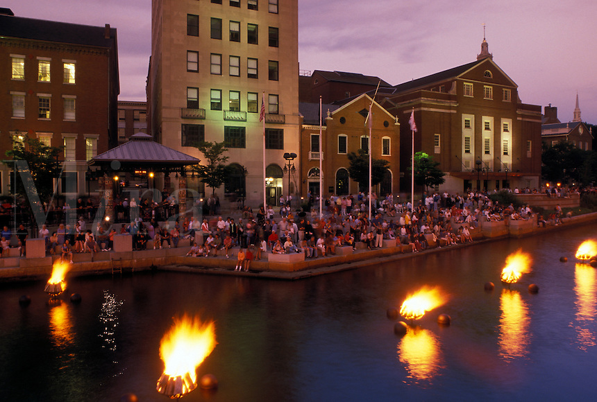 Providence, RI, Rhode Island, Waterfire Providence along Providence River in downtown Providence in the evening.