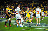 Referee Angus Gardner blows fulltime during the Super Rugby semifinal match between the Hurricanes and Chiefs at Westpac Stadium, Wellington, New Zealand on Saturday, 30 July 2016. Photo: Dave Lintott / lintottphoto.co.nz