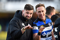 Elliott Stooke and James Wilson of Bath Rugby. Aviva Premiership match, between Bath Rugby and Sale Sharks on February 24, 2018 at the Recreation Ground in Bath, England. Photo by: Patrick Khachfe / Onside Images