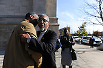 Congressman Bobby Rush arrives for the funeral of Tyshawn Lee, 9, who was shot multiple times while playing basketball in an alley on November 2, 2015, at St. Sabina's in Chicago, Illinois on November 10, 2015. Police allege the killing was a retaliatory gang hit which would mark a new turn in Chicago's gang wars.