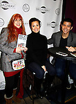"""As The World Turns Lea Salonga apnd Telly Leung (Glee) and both are starring in the play """"Allegiance"""" pose with Jane Elissa and show off her book and attend the first ever 3-day Broadway Con on January 22 - 24, 2016 at the Hilton Hotel, New York City, New York. (Photo by Sue Coflin/Max Photos)"""