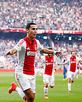 Nederland, Amsterdam, 24 augustus 2014<br /> Eredivisie<br /> Seizoen 2014-2015<br /> Ajax-PSV <br /> Anwar El Ghazi van Ajax juicht, nadat hij de 1-0 heeft gescoord.