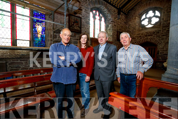 "Tom Denny, Colette Langan, Fr Tadhg Fitzgerald and Bill Looney at the instillation of the Stained Glass ""Reconciliation window"" in Saint Johns Church in Tralee."
