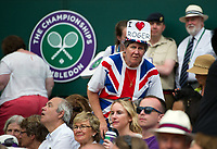 A Roger Federer fan watching his victory over Dusan Lajovic of Serbia in their Men's Singles Second Round Match today - Federer def Lajovic 7-6, 6-3, 6-2<br /> <br /> Photographer Ashley Western/CameraSport<br /> <br /> Wimbledon Lawn Tennis Championships - Day 4 - Thursday 6th July 2017 -  All England Lawn Tennis and Croquet Club - Wimbledon - London - England<br /> <br /> World Copyright &not;&uml;&not;&copy; 2017 CameraSport. All rights reserved. 43 Linden Ave. Countesthorpe. Leicester. England. LE8 5PG - Tel: +44 (0) 116 277 4147 - admin@camerasport.com - www.camerasport.com