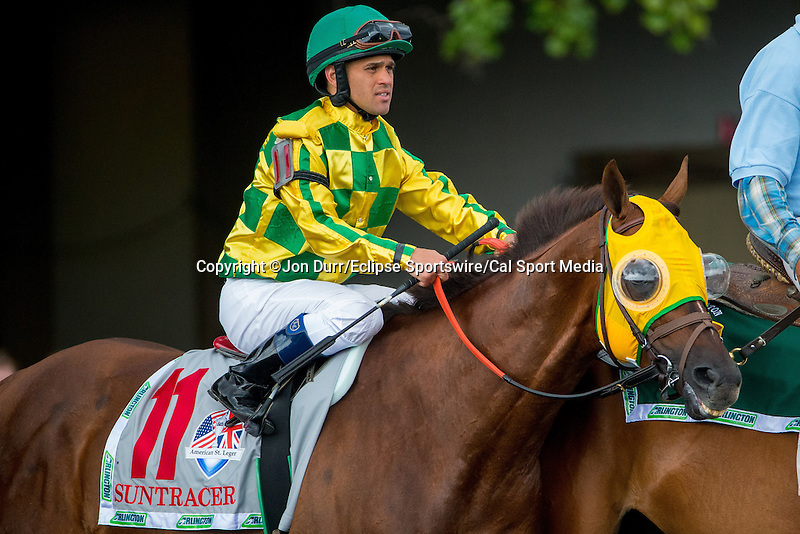AUG 16, 2014:  Suntracer, ridden by Javier Castel, before the third running of the American St. Leger at Arlington International Race Track in Arlington Heights, IL. Jon Durr/ESW/Cal Sport Media