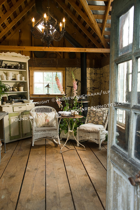 Garden Sheds Inside garden shed hideaway seating area | homeandgardenphotos