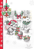 Sharon, CHRISTMAS ANIMALS, WEIHNACHTEN TIERE, NAVIDAD ANIMALES, GBSS, paintings+++++,GBSSC50XFCB,#XA# ,black,white