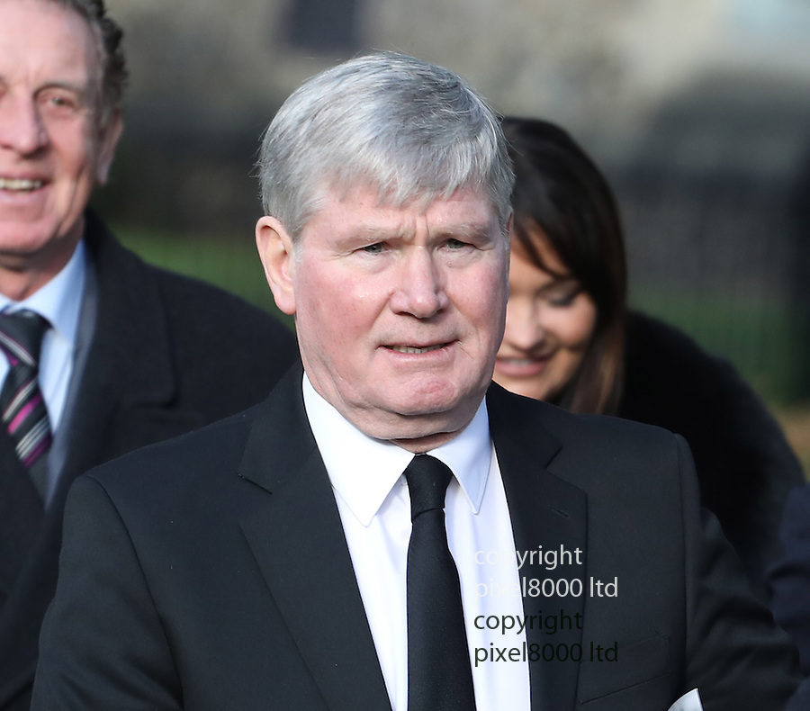 pic shows: mourner Pat Rice<br /> <br /> <br /> Former England and Watford manager Graham Taylor's funeral at St Mary's Church in Watford<br /> today 1.1.17<br /> <br /> <br /> <br /> <br /> <br /> Pic by Gavin Rodgers/Pixel 8000 Ltd