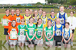 The winners of the Girls u12 4x100 relay at the Community Games County finals in An Riocht Castleisland last Sunday were front row L-r: Sarah Slattery Killarney South, Eliane McCarthy, Aoife Behan, Rebecca Lynch, Siobhain Donnegan all Ballydonoghue Gold medal winners, Elaine Courtney, Kate Brosnan Spa/Muckross. Back row: Annie Potts, Leanne Pierce, Kayleigh Cronin all Killarney South, Majella Shanahan, Anna Prenderville, Emer Lynch, Lil Reynolds, Sive ODonnell all Ballymac, Laura McClarnon, Louise Lynch and Lauren Quinlan all Spa/Muckross.