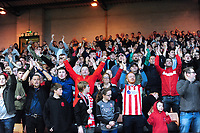Lincoln City fans applaud their team at the final whistle<br /> <br /> Photographer Andrew Vaughan/CameraSport<br /> <br /> The EFL Sky Bet League Two - Port Vale v Lincoln City - Saturday 13th October 2018 - Vale Park - Burslem<br /> <br /> World Copyright © 2018 CameraSport. All rights reserved. 43 Linden Ave. Countesthorpe. Leicester. England. LE8 5PG - Tel: +44 (0) 116 277 4147 - admin@camerasport.com - www.camerasport.com