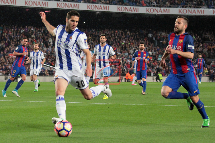 League Santander 2016/2017. Game: 32.<br /> FC Barcelona vs Real Sociedad: 3-2.<br /> Zaldua vs Jordi Alba.