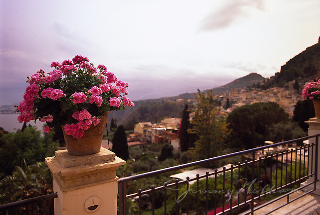 A flower arrangement sits on the edge of a balcony in Positano, Italy providing a beautiful view