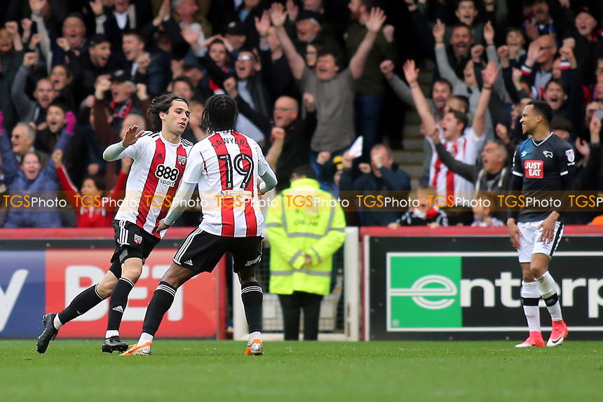 Jota celebrates scoring Brentford's second goal during Brentford vs Derby County, Sky Bet EFL Championship Football at Griffin Park on 14th April 2017