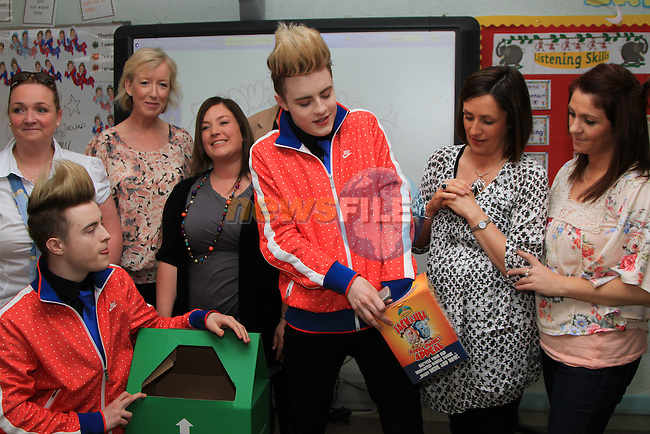 Presentation Primary School in Drogheda receive a visit from Jedward as the prize for collecting the most used mobile phones per student for the Jack and Jill Foundation. Pictured here with Jack and Jill staff and volunteers...(Photo credit should read Jenny Matthews www.newsfile.ie)....This Picture has been sent you under the conditions enclosed by:.Newsfile Ltd..The Studio,.Millmount Abbey,.Drogheda,.Co Meath..Ireland..Tel: +353(0)41-9871240.Fax: +353(0)41-9871260.GSM: +353(0)86-2500958.email: pictures@newsfile.ie.www.newsfile.ie.