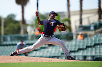 Minnesota Twins pitcher Eddie Del Rosario (59) during an instructional league game against the Baltimore Orioles on September 22, 2015 at Ed Smith Stadium in Sarasota, Florida.  (Mike Janes/Four Seam Images)
