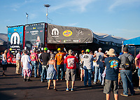 Jun 7, 2019; Topeka, KS, USA; Fans surround the pit area of NHRA top fuel driver Leah Pritchett during qualifying for the Heartland Nationals at Heartland Motorsports Park. Mandatory Credit: Mark J. Rebilas-USA TODAY Sports