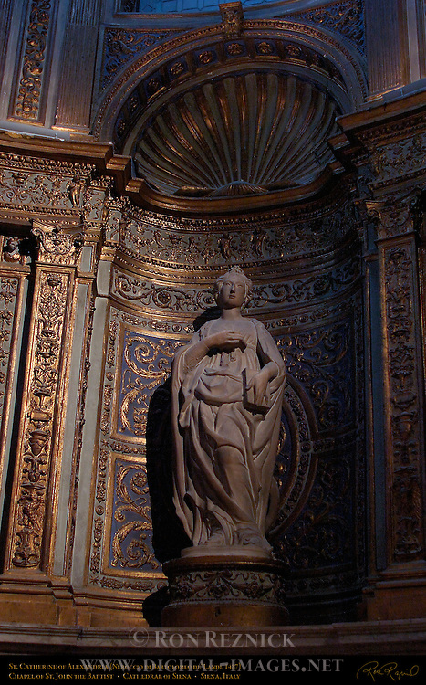 St. Catherine of Alexandria, Neroccio di Bartolomeo de' Landi 1487, Chapel of St. John the Baptist, North Transept, Cathedral of Siena, Santa Maria Assunta, Siena, Italy