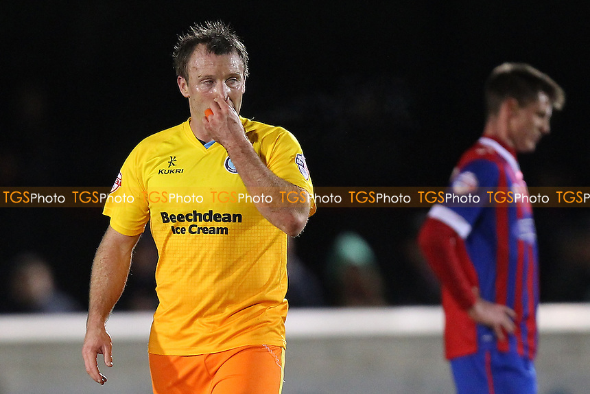 Garry Thompson of Wycombe Wanderers is sent off by referee Stroud and leaves the field during Dagenham and Redbridge vs Wycombe Wanderers, Sky Bet League 2 Football at the Chigwell Construction Stadium,