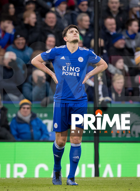 Harry Maguire of Leicester City after a missed opportunity during the Premier League match between Leicester City and Manchester United at the King Power Stadium, Leicester, England on 3 February 2019. Photo by Andy Rowland.