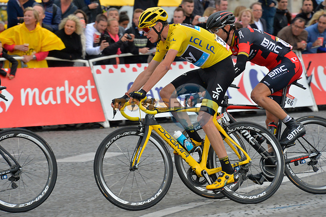 Yellow Jersey Christopher Froome (GBR) Team Sky in action on the Champs Elysees in Paris during Stage 21 of the 2015 Tour de France running 109.5km from Sevres to Paris - Champs Elysees, France. 26th July 2015.<br /> Photo: ASO/B.Bade/Newsfile