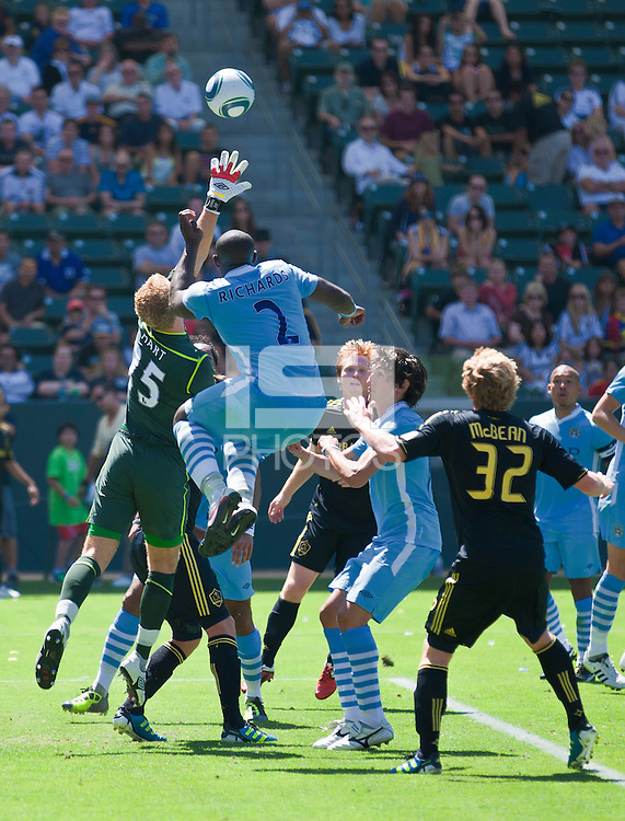 CARSON, CA – July 24, 2011: Joe Hart (25) and Micah Richards (2) of Manchester City during the match between LA Galaxy and Manchester City FC at the Home Depot Center in Carson, California. Final score Manchester City FC 1 and LA Galaxy 1. Manchester City wins shoot out 7, LA Galaxy 6.
