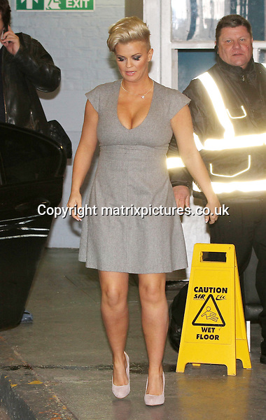 """NON EXCLUSIVE PICTURE: MATRIXPICTURES.CO.UK.PLEASE CREDIT ALL USES..WORLD RIGHTS..British """"Atomic Kitten"""" pop star Kerry Katona is pictured leaving London 's ITV Studios...JANUARY 7th 2013..REF: WTX 1373"""