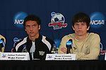 13 December 2007: Wake Forest's Julian Valentin (l) and Sam Cronin (r). The Wake Forest University Demon Deacons held a press conference at SAS Stadium in Cary, North Carolina one day before playing in a NCAA Division I Mens College Cup semifinal game.