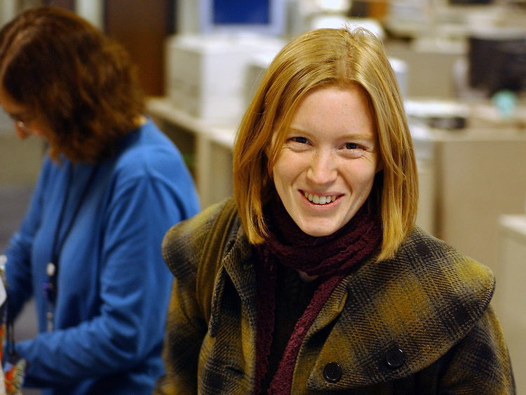 Katie Thomas, photographed at Newsday in Melville on Friday December 24, 2004. (Photo copyright Jim Peppler 2004).