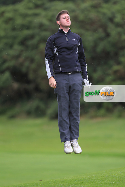 Jack Hearn (Tramore) jumps to see the flag from the 8th fairway during Round 3 of the 2016 Connacht U18 Boys Open, played at Galway Golf Club, Galway, Galway, Ireland. 07/07/2016. <br /> Picture: Thos Caffrey | Golffile<br /> <br /> All photos usage must carry mandatory copyright credit   (&copy; Golffile | Thos Caffrey)