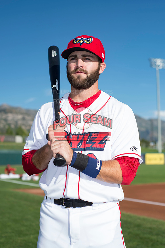 Orem Owlz infielder Michael Stefanic (31) poses for a photo prior to a Pioneer League game against the Ogden Raptors at the Home of the OWLZ on August 24, 2018 in Orem, Utah. The Ogden Raptors defeated the Orem Owlz by a score of 13-5. (Zachary Lucy/Four Seam Images)