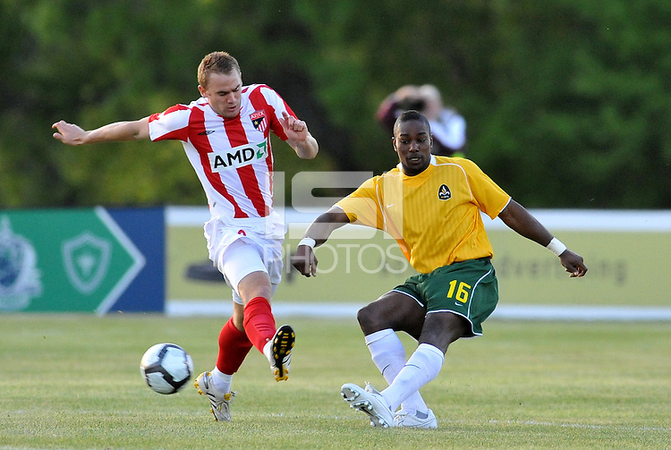 Christian Nzinga #16, Eddie Johnson...AC St Louis were defeated 1-2 by Austin Aztek in their inaugural home game in front of 5,695 fans at Anheuser-Busch Soccer Park, Fenton, Missouri.