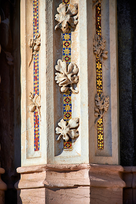 Close up of a medieval sculpted pillar on the14th century Tuscan Gothic style facade of the Cathedral of Orvieto, designed by Maitani, Umbria, Italy