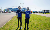 Cardiff fans wearing masks of Sean Morrison and Junior Hoilett outside the ground ahead of the Sky Bet Championship match between Cardiff City and Reading at the Cardiff City Stadium, Cardiff, Wales on 6 May 2018. Photo by Mark  Hawkins / PRiME Media Images.