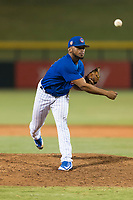 AZL Cubs 1 relief pitcher Fauris Guerrero (41) follows through on his delivery during an Arizona League playoff game against the AZL Rangers at Sloan Park on August 29, 2018 in Mesa, Arizona. The AZL Cubs 1 defeated the AZL Rangers 8-7. (Zachary Lucy/Four Seam Images)