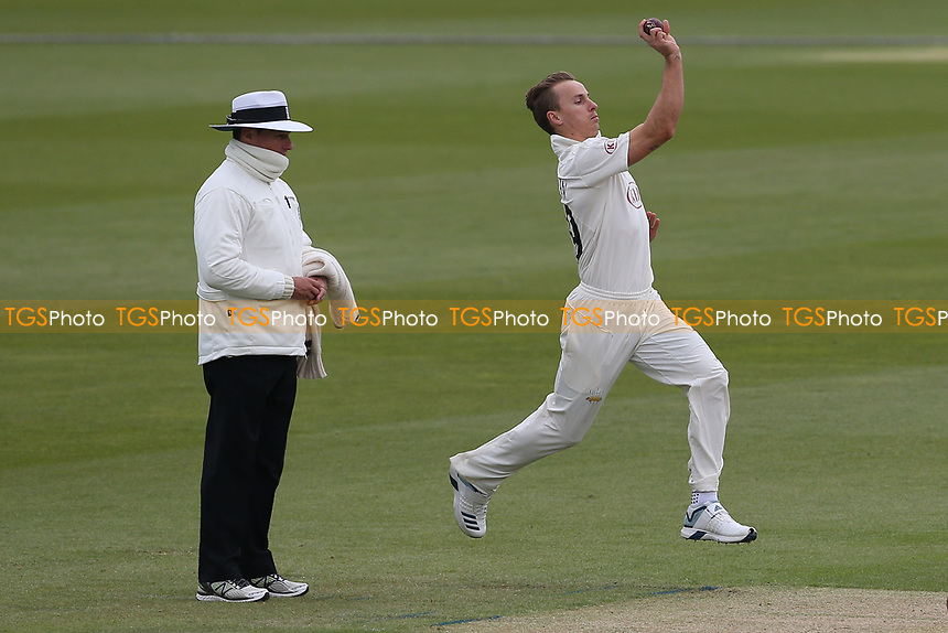 Tom Curran in bowling action for Surrey during Surrey CCC vs Essex CCC, Specsavers County Championship Division 1 Cricket at the Kia Oval on 12th April 2019