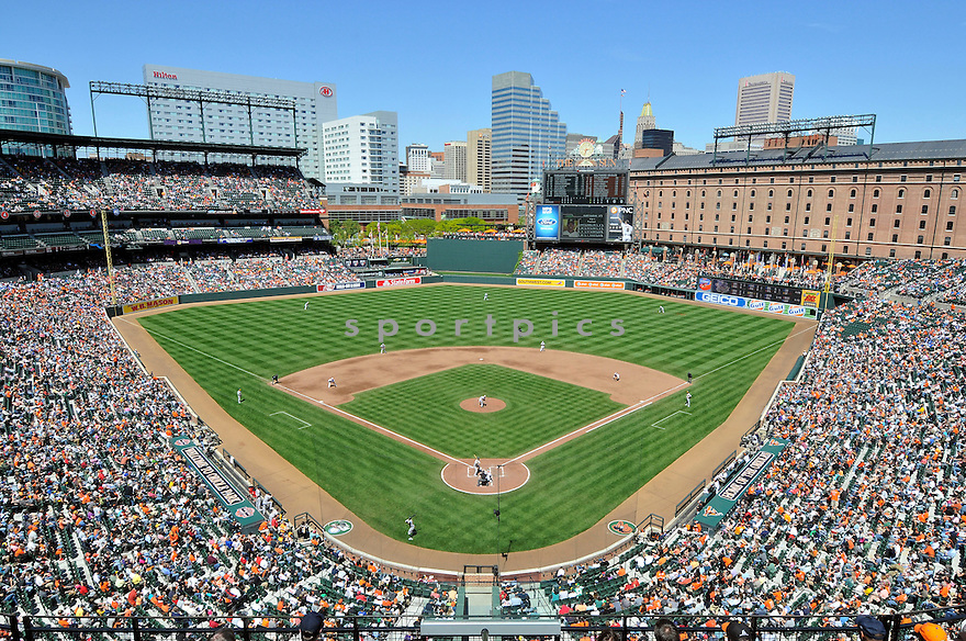An overall view of Oriole Park at Camden Yards in Baltimore, during a game between the Baltimore Orioles and the Oakland Athletics on April 29, 2012. (AP Photo/Chris Bernacchi)