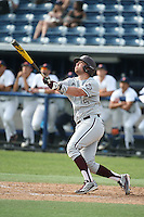 Michael Barash (5) of the Texas A&M Aggies bats against the Pepperdine Waves at Eddy D. Field Stadium on February 26, 2016 in Malibu, California. Pepperdine defeated Texas A&M, 7-5. (Larry Goren/Four Seam Images)