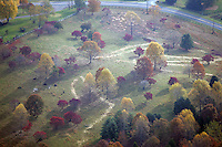 aerial, land, fall colors, farm