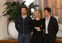 Da sinistra, gli attori Bradley Cooper, Sienna Miller e Riccardo Scamarcio posano durante un photocall per la presentazione del film 'Il sapore del successo' a Roma, 28 ottobre 2015. <br /> From left actors Bradley Cooper, Sienna Miller and Riccardo Scamarcio pose during a photo call for the presentation of the movie 'Burnt' in Rome, 28 October 2015.<br /> UPDATE IMAGES PRESS/Riccardo De Luca<br /> <br /> *** ITALY AND GERMANY OUT ***