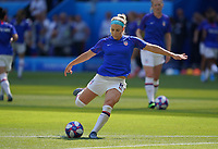 DECINES-CHARPIEU, FRANCE - JULY 07: Julie Ertz #8 warming up prior to the 2019 FIFA Women's World Cup France Final match between Netherlands and the United States at Groupama Stadium on July 07, 2019 in Decines-Charpieu, France.