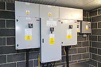 Electrical components inside a farm electrical distribution building