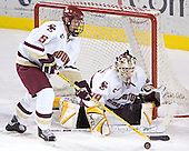 Tim Filangieri, Joe Pearce - The Boston College Eagles and Ferris State Bulldogs tied at 3 in the opening game of the Denver Cup on Friday, December 30, 2005, at Magness Arena in Denver, Colorado.  Boston College won the shootout to determine which team would advance to the Final.
