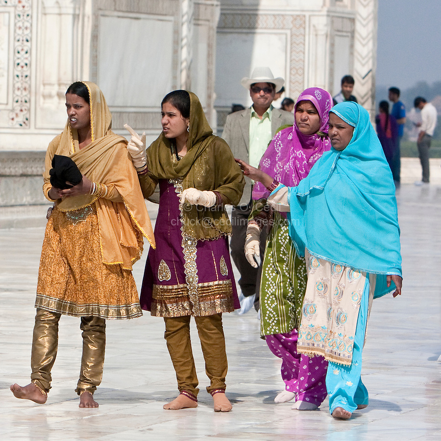 Agra, India.  Indian Women Visiting the Taj Mahal.