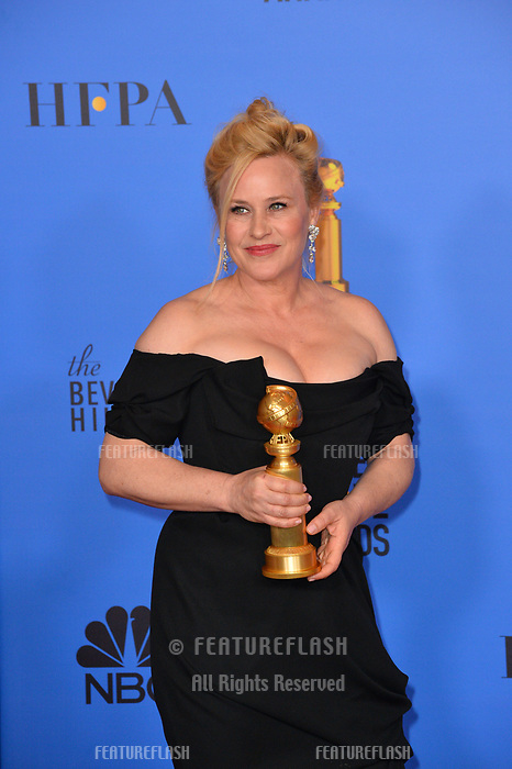 LOS ANGELES, CA. January 06, 2019: Patricia Arquette at the 2019 Golden Globe Awards at the Beverly Hilton Hotel.<br /> Picture: Paul Smith/Featureflash